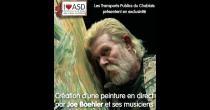 Création d'une peinture en direct par Joe Boehler et ses musiciens